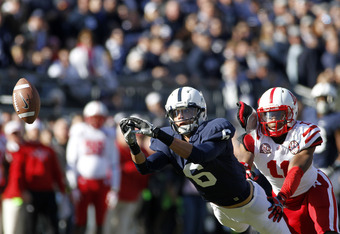 STATE COLLEGE, PA - NOVEMBER 12:  Derek Moye #6 of the Penn State Nittany Lions can't make the catch against the Nebraska Cornhuskers during the game on November 12, 2011 at Beaver Stadium in State College, Pennsylvania.  (Photo by Justin K. Aller/Getty I