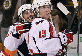 BOSTON, MA - APRIL 14: Nicklas Backstrom #19 of the Washington Capitals is congratulated by teammate Jay Beagle #83 after Backstrom scored the game winner against the Boston Bruins in Game Two of the Eastern Conference Quarterfinals during the 2012 NHL St