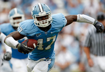 CHAPEL HILL, NC - OCTOBER 10:  Zach Brown #47 of the North Carolina Tar Heels reacts to making an interception against the Georgia Southern Eagles at Kenan Stadium on October 10, 2009 in Chapel Hill, North Carolina.  (Photo by Streeter Lecka/Getty Images)