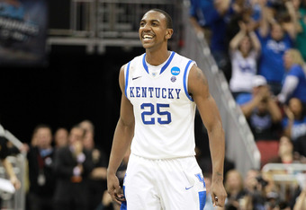 LOUISVILLE, KY - MARCH 17:  Marquis Teague #25 of the Kentucky Wildcats reacts in the second half against the Iowa State Cyclones during the third round of the 2012 NCAA Men's Basketball Tournament at KFC YUM! Center on March 17, 2012 in Louisville, Kentu