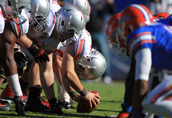 JACKSONVILLE, FL - JANUARY 02:  The line of scrimmage is seen during the TaxSlayer.com Gator Bowl between the Ohio State Buckeyes and Florida Gators at EverBank Field on January 2, 2012 in Jacksonville, Florida.  (Photo by Scott Halleran/Getty Images)