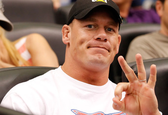 ST. PETERSBURG - OCTOBER 04:  Celebrity John Cena takes in Game Four of the American League Division Series  between of the Tampa Bay Rays and the Texas Rangers at Tropicana Field on October 4, 2011 in St. Petersburg, Florida.  (Photo by J. Meric/Getty Im