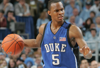 CHAPEL HILL, NC - MARCH 06:  Daniel Ewing #5 of the Duke Blue Devils moves the ball during the game against the North Carolina Tar Heels on March 6, 2005 at the Dean E. Smith Center in Chapel Hill, North Carolina. The Tar Heels defeated the Blue Devils 75