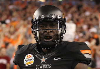 GLENDALE, AZ - JANUARY 02:  Justin Blackmon #81 of the Oklahoma State Cowboys celebrates after he caught a 67-yard tocudown reception in the second quarter against the Stanford Cardinal during the Tostitos Fiesta Bowl on January 2, 2012 at University of P