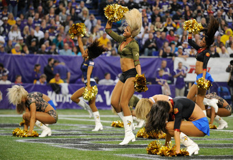 MINNEAPOLIS, MN - NOVEMBER 20: The Minnesota Vikings' cheerleaders perform in military outfits during the game between the Oakland Raiders and the Minnesota Vikings on November 20, 2011 at Hubert H. Humphrey Metrodome in Minneapolis, Minnesota. (Photo by