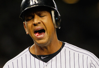 NEW YORK, NY - APRIL 17: Alex Rodriguez #13 of the New York Yankees reacts after flying out in the bottom outfield the third-inning against the Minnesota Twins at Yankee Stadium on April 17, 2012 in the Bronx borough of New York City.  (Photo by Mike Stob