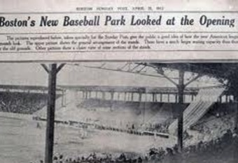 Fenway Park's opening was hyped in newspapers, where space allowed among Titanic coverage.