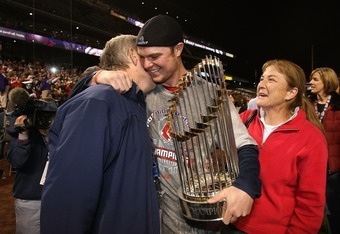 DENVER - OCTOBER 28:  Starting pitcher Jon Lester of the Boston Red Sox celebrates with his parents after winning Game Four by a score of 4-3 to win the 2007 Major League Baseball World Series in a four game sweep of the Colorado Rockies at Coors Field on
