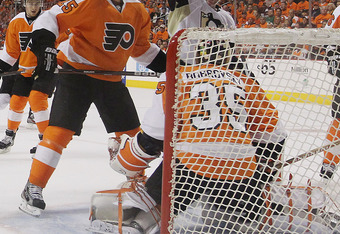 PHILADELPHIA, PA - APRIL 18: Matt Cooke #24 of the Pittsburgh Penguins celebrates a second period goal against the Philadelphia Flyers in Game Four of the Eastern Conference Quarterfinals during the 2012 NHL Stanley Cup Playoffs at Wells Fargo Center on A