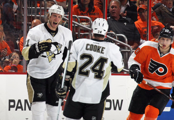 PHILADELPHIA, PA - APRIL 18: Jordan Staal #11 of the Pittsburgh Penguins celebrates his hattrick goal at 16:03 of the second period against the Philadelphia Flyers along with Matt Cooke #24 in Game Four of the Eastern Conference Quarterfinals during the 2