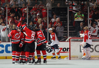 NEWARK, NJ - APRIL 19:  Ilya Kovalchuk #17 of the New Jersey Devils celebrates his powerplay goal at 8:32 of the third period against the Florida Panthers in Game Four of the Eastern Conference Quarterfinals during the 2012 NHL Stanley Cup Playoffs at Pru