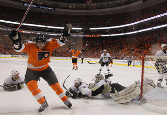 PHILADELPHIA, PA - APRIL 18:  Jakub Voracek #93 of the Philadelphia Flyers scores a powerplay goal at 15:52 of the first period agaisnt the Pittsburgh Penguins in Game Four of the Eastern Conference Quarterfinals during the 2012 NHL Stanley Cup Playoffs a