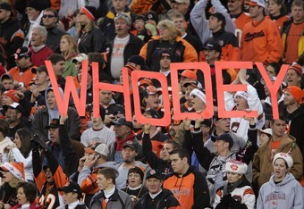 CINCINNATI - DECEMBER 24:  Fans of the Cincinnati Bengals display a 'Who Dey' sign during the NFL game with the Buffalo Bills at Paul Brown Stadium on December 24, 2005 in Cincinnati, Ohio. The Bills won 37-27. (Photo by Andy Lyons/Getty Images)