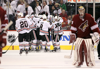 The Blackhawks hope to be doing this again tonight.