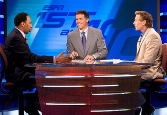 (From left to right) Stephen A. Smith, Jay Crawford, and Skip Bayless