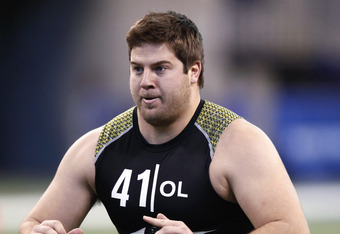 INDIANAPOLIS, IN - FEBRUARY 25: Offensive lineman Riley Reiff of Iowa participates in a drill during the 2012 NFL Combine at Lucas Oil Stadium on February 25, 2012 in Indianapolis, Indiana. (Photo by Joe Robbins/Getty Images)