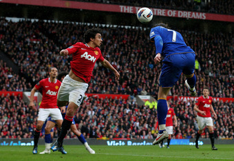 MANCHESTER, ENGLAND - APRIL 22:  Nikica Jelavic of Everton rises to score the opening goal during the Barclays Premier League match between Manchester United and Everton at Old Trafford on April 22, 2012 in Manchester, England.  (Photo by Alex Livesey/Get