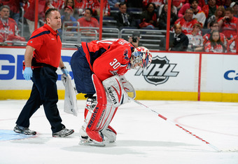 Once thought to be Washington's goalie of the future, Michal Neuvirth's injuries have relegated him to the bench for the Playoffs.
