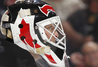 SUNRISE, FL - APRIL 21: Goaltender Martin Brodeur #30 of the New Jersey Devils looks up ice just prior to the opening face off against the Florida Panthers in Game Five of the Eastern Conference Quarterfinals during the 2012 NHL Stanley Cup Playoffs at th