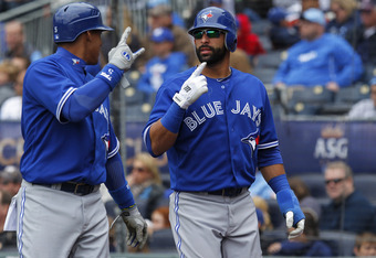 Jose Bautista (R) can do a lot better than a .393 slugging percentage.