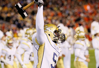 ATLANTA, GA - OCTOBER 29:  Stephen Hill #5 of the Georgia Tech Yellow Jackets against the Clemson Tigers at Bobby Dodd Stadium on October 29, 2011 in Atlanta, Georgia.  (Photo by Kevin C. Cox/Getty Images)