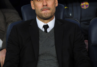 BARCELONA, SPAIN - APRIL 24:  Head coach Josep Guardiola of FC Barcelona looks on during the UEFA Champions League Semi Final, second leg match between FC Barcelona and Chelsea FC at Camp Nou on April 24, 2012 in Barcelona, Spain.  (Photo by Shaun Botteri