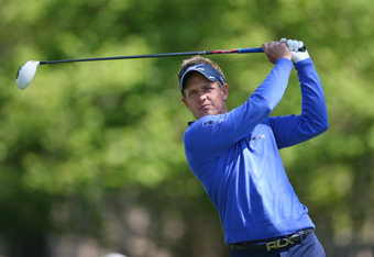 HILTON HEAD ISLAND, SC - APRIL 12: Luke Donald of England hits his tee shot on the third hole during the first round of the RBC Heritage presented by Boeing at Harbour Town Golf Links on April 12, 2012 in Hilton Head Island, South Carolina. (Photo by Hunt