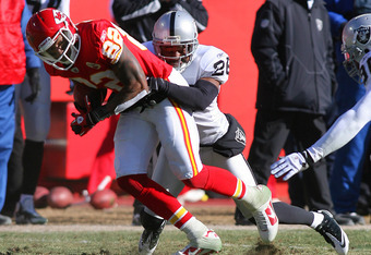 Stanford Routt working against Dwayne Bowe.