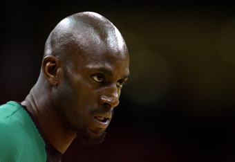 NEWARK, NJ - APRIL 14:  Kevin Garnett #5 of the Boston Celtics looks on during warm ups against the New Jersey Nets at Prudential Center on April 14, 2012 in Newark, New Jersey. NOTE TO USER: User expressly acknowledges and agrees that, by downloading and
