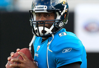 JACKSONVILLE, FL - SEPTEMBER 01:  David Garrard #9 of the Jacksonville Jaguars warms up prior to the game against the St. Louis Rams at EverBank Field on September 1, 2011 in Jacksonville, Florida.  (Photo by Sam Greenwood/Getty Images)