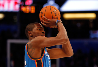 ORLANDO, FL - FEBRUARY 25:  Kevin Durant of the Oklahoma City Thunder competes during the Foot Locker Three-Point Contest part of 2012 NBA All-Star Weekend at Amway Center on February 25, 2012 in Orlando, Florida.  NOTE TO USER: User expressly acknowledge
