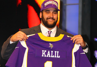 NEW YORK, NY - APRIL 26:  Matt Kalil from USC holds up a jersey as he stands on stage after he was selected #4 overall by the Minnesota Vikings in the first round of the 2012 NFL Draft at Radio City Music Hall on April 26, 2012 in New York City.  (Photo b