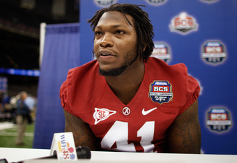 NEW ORLEANS, LA - JANUARY 06:  Courtney Upshaw #41 of the Alabama Crimson Tide talks to the media at the Mercedes-Benz Superdome on January 6, 2012 in New Orleans, Louisiana.  LSU and Alabama will play in the BCS National Championship on January 9th.  (Ph