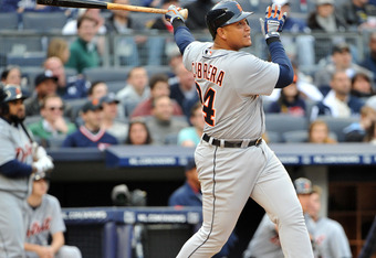 NEW YORK, NY - APRIL 28:  Miguel Cabrera #24 of the Detroit Tigers watches his solo home run in the top of the eighth inning against the New York Yankees at Yankee Stadium on April 28, 2012 in the Bronx borough of New York City. (Photo by Christopher Pasa