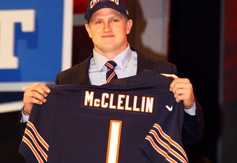 NEW YORK, NY - APRIL 26:  Shea McClellin (R) of Boise State holds up a jersey as he stands on stage after he was selected #19 overall by the Chicago Bears in the first round of the 2012 NFL Draft at Radio City Music Hall on April 26, 2012 in New York City