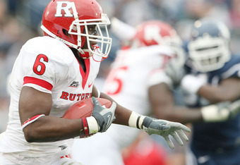 EAST HARTFORD, CT - OCTOBER 31:  Mohamed Sanu #6 of the Rutgers Scarlet Knights carries the ball in the second half against the Connecticut Huskies on October 31, 2009 at Rentschler Field in East Hartford, Connecticut.Rutgers defeated Connecticut 28-24.