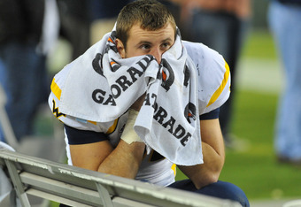 TAMPA, FL - DECEMBER 1:  Tyler Urban #89 of the West Virginia Mountaineers checks the socreboard in the fourth quarter against the South Florida Bulls December 1, 2011 at Raymond James Stadium in Tampa, Florida.  West Virginia won 30 - 27. (Photo by Al Me