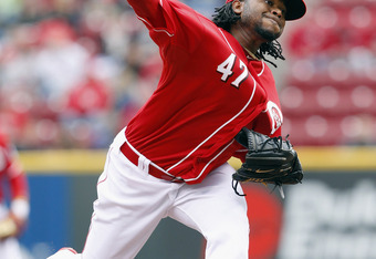CINCINNATI, OH - APRIL 28:  Johnny Cueto #47 of the Cincinnati Reds pitches during the first inning against the Houston Astros at Great American Ball Park on April 28, 2012 in Cincinnati, Ohio.  (Photo by Matt Sullivan/Getty Images)
