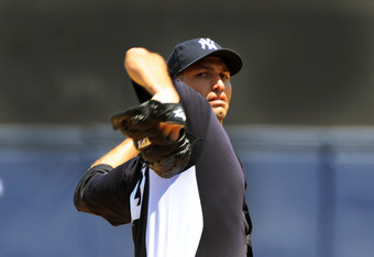 TAMPA, FL - APRIL 04: Pitcher Andy Pettitte #46 of the New York Yankees throws against the New York Mets in a spring training game April 4, 2012  at George M. Steinbrenner Field in Tampa, Florida. Pettitte last pitched in 2010. (Photo by Al Messerschmidt/