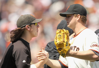 Matt Cain promises Tim he'll buy the next round if things don't work out.