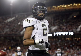 PALO ALTO, CA - SEPTEMBER 18:  Chris Givens #2 of the Wake Forest Demon Deacons runs in for a touchdown against the Stanford Cardinal at Stanford Stadium on September 18, 2010 in Palo Alto, California.  (Photo by Ezra Shaw/Getty Images)