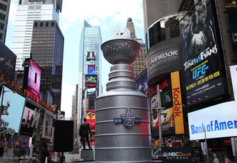NEW YORK, NY - APRIL 11:  A 21 foot replica of the Stanley Cup trophy sits in Times Square on April 11, 2012 in New York City.  To kick off the start of the NHL Stanley Cup playoffs, a 21 foot, 6,600 pound replica of the Stanley Cup trophy was unveiled in
