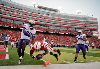 LINCOLN, NE - SEPTEMBER 17: Aaron Green #2 of the Nebraska Cornhuskers score a touchdown during first half action of their game against the Washington Huskies at Memorial Stadium September 17, 2011 in Lincoln, Nebraska.(Photo by Eric Francis/Getty Images)