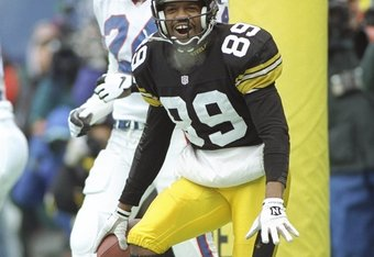 6 Jan 1996: Wide receiver Ernie Mills of the Pittsburgh Steelers celebrates during a playoff game against the Buffalo Bills at Three Rivers Stadium in Pittsburgh, Pennsylvania. The Steelers won the game, 40-21.