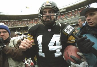 6 Jan 1996:  Quarterback Neil O''Donnell of the Pittsburgh Steelers gets interviewed after a playoff game against the Buffalo Bills at Three Rivers Stadium in Pittsburgh, Pennsylvania.  The Steelers won the game, 40-21. Mandatory Credit: Doug Pensinger  /