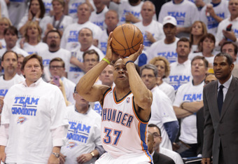 OKLAHOMA CITY, OK - APRIL 30:  Derek Fisher #37 of the Oklahoma City Thunder sets to shoot against the Dallas Mavericks in Game Two of the Western Conference Quarterfinals in the 2012 NBA Playoffs on April 30, 2012 at the Chesapeake Energy Arena in Oklaho