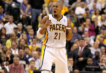 INDIANAPOLIS, IN - APRIL 30: David West #21 of the Indiana Pacers reacts while playing the Orlando Magic in Game Two of the Eastern Conference Quarterfinals during the 2012 NBA Playoffs on April 30, 2012 at Bankers Life Fieldhouse in Indianapolis, Indiana