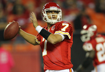 KANSAS CITY, MO - OCTOBER 31:   Matt Cassel #7 of the Kansas City Chiefs looks to pass against the San Diego Chargers at Arrowhead Stadium on October 31, 2011 in Kansas City, Missouri.  (Photo by Jamie Squire/Getty Images)