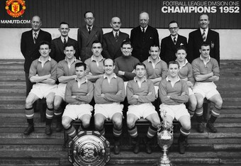 Manchester United with the 1951-52 First Division trophy and the 1952 Charity Shield (manutd.com)