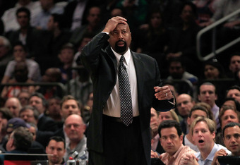 NEW YORK, NY - MARCH 28: Head coach Mike Woodson of the New York Knicks looks on against the Orlando Magic at Madison Square Garden on March 28, 2012 in New York City. NOTE TO USER: User expressly acknowledges and agrees that, by downloading and/or using